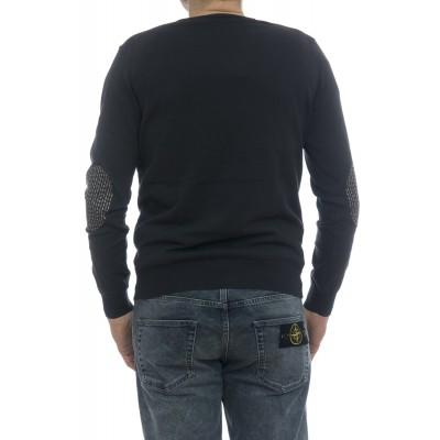 Maglia uomo - 5011/02 38 maglia collo a v con toppa