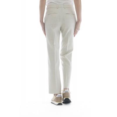 Pantalone donna - Dania 171633 d9419 quadretto strech 44% cotone, 16% viscosa, 14% acreilico, 14% seta, 11% poliamide,