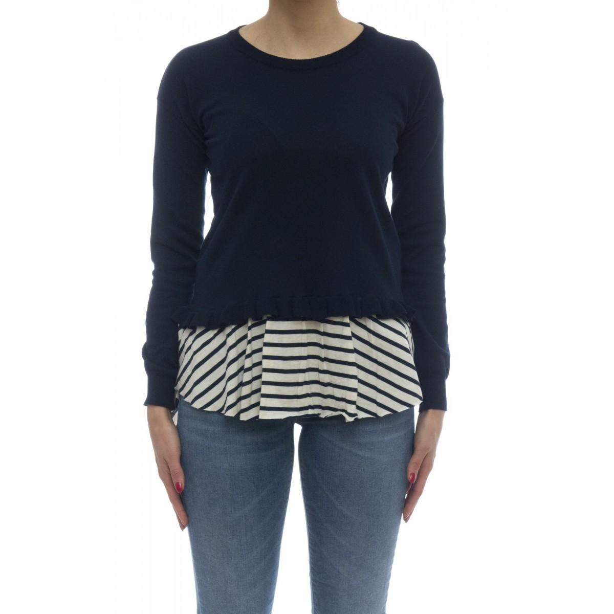 Maglieria - 145314 maglia giro fondo righina