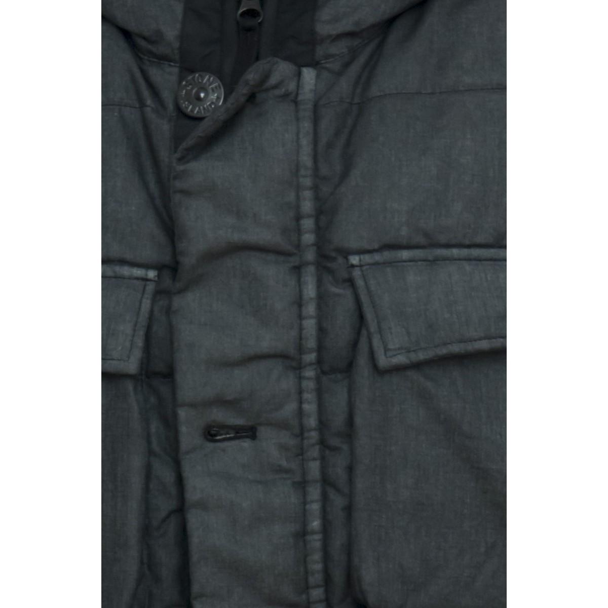 Piumino - 42833 lino resinato con pelliccia eco