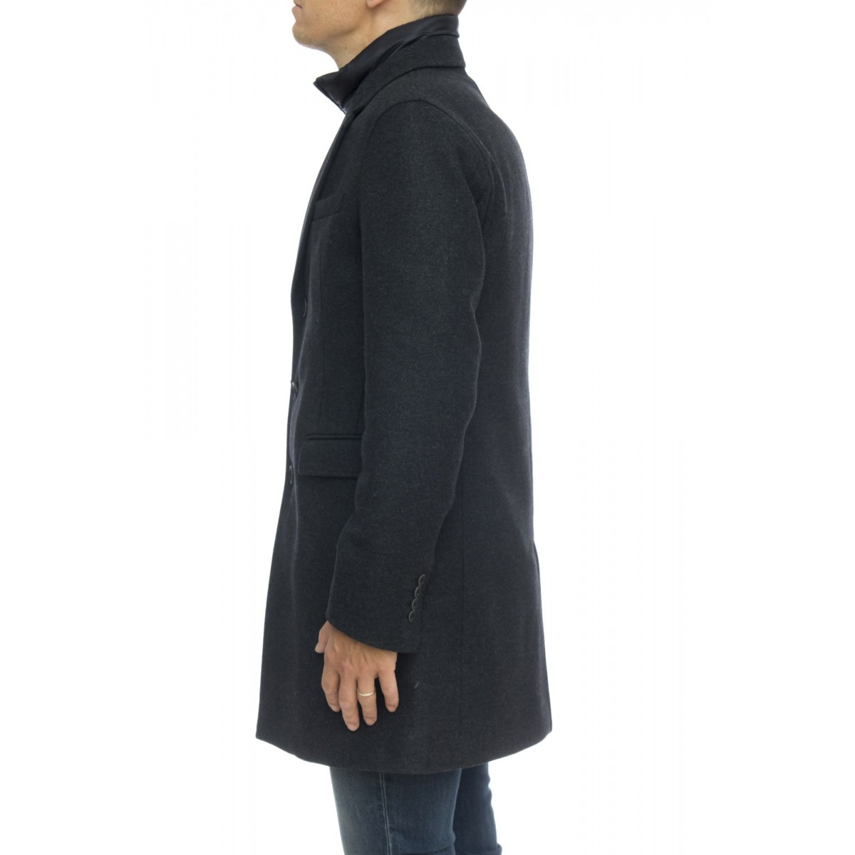 Piumino - Ca0045u 39601 cappotto lana diagonale made in italy