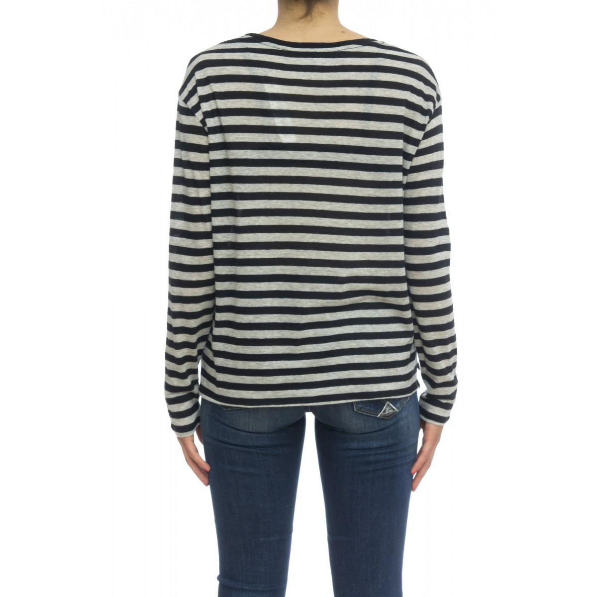 T shirt manica lunga - Fts052 j012 70% cotone 30% cashmeire rigata