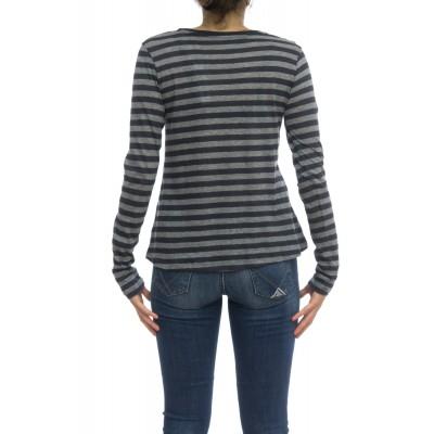 T shirt manica lunga - Fts054 j012 70% cotone 30% cashmeire rigata