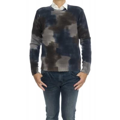 Maglia uomo - 1882060 lavorazione camuflage fatta a mano 92% merinos 8% cashmeire