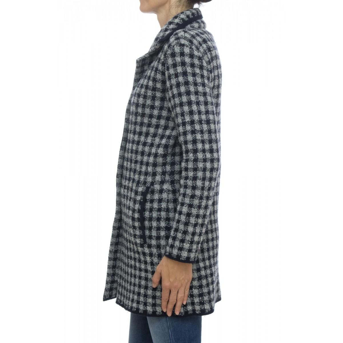 Cappotto - Cappotto monopetto quadro tovaglia