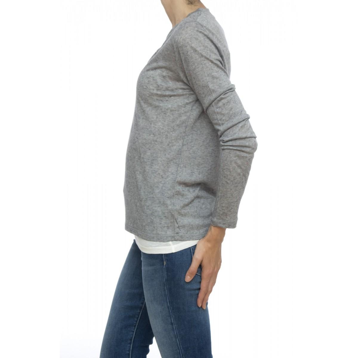 T shirt manica lunga - Ftu009 j049 serafino doppiata 50% cashmeire 50% micromodal