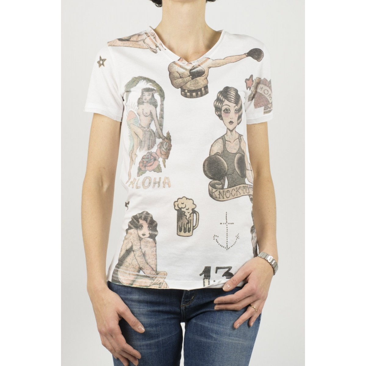 T-Shirt Hydrogen donna - 141047 001 stampa tatto