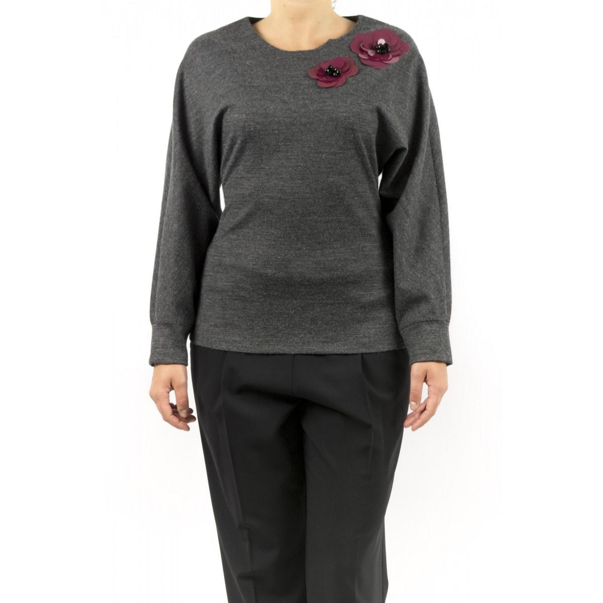 Pullover Erika Cavallini - Semicouture - P5I112 Felpa Con Applicazioni Fatta A Mano