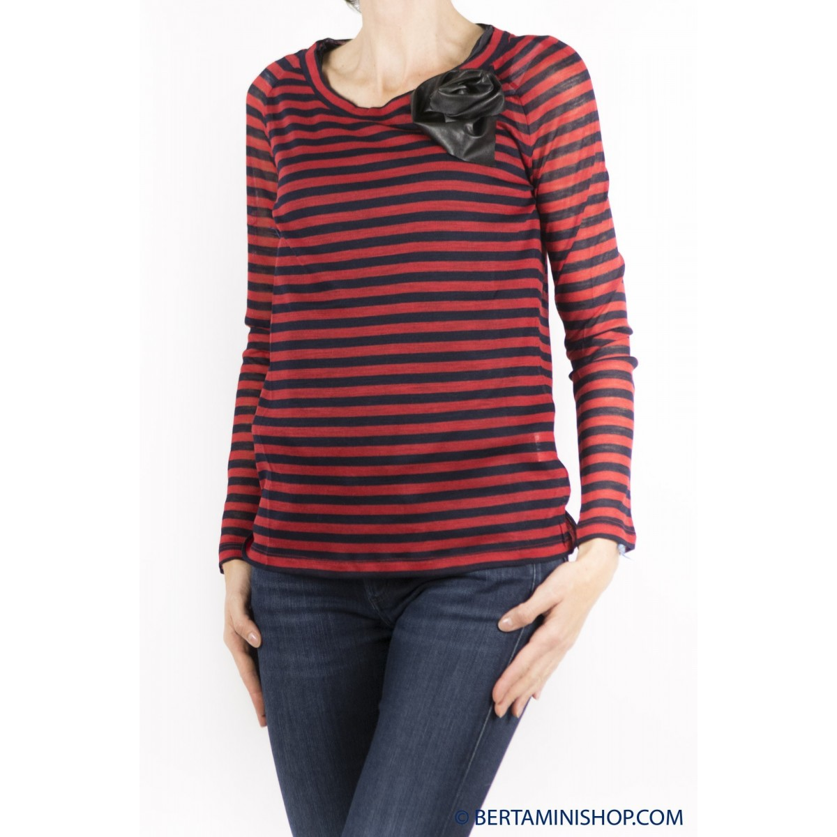 T-Shirt Jucca Donna - 8009 T-Shirt Rigata Barchetta Con Fiore