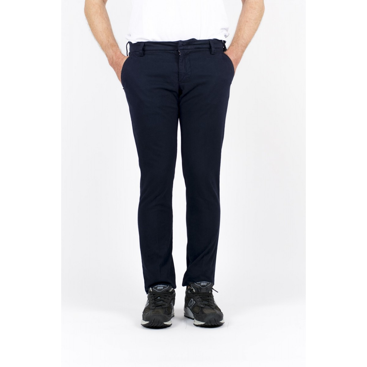 Pantalone uomo Entre amis - Pantalone tasca america slim con fondo 16cm 401- Blu