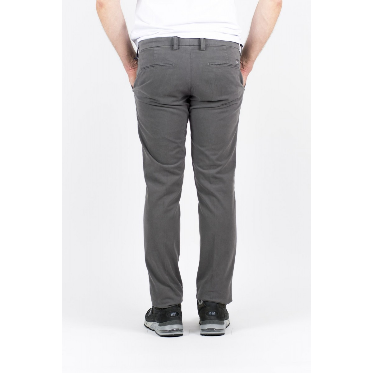 Pantalone uomo Entre amis - Pantalone tasca america slim con fondo 16cm 302 - Grigio