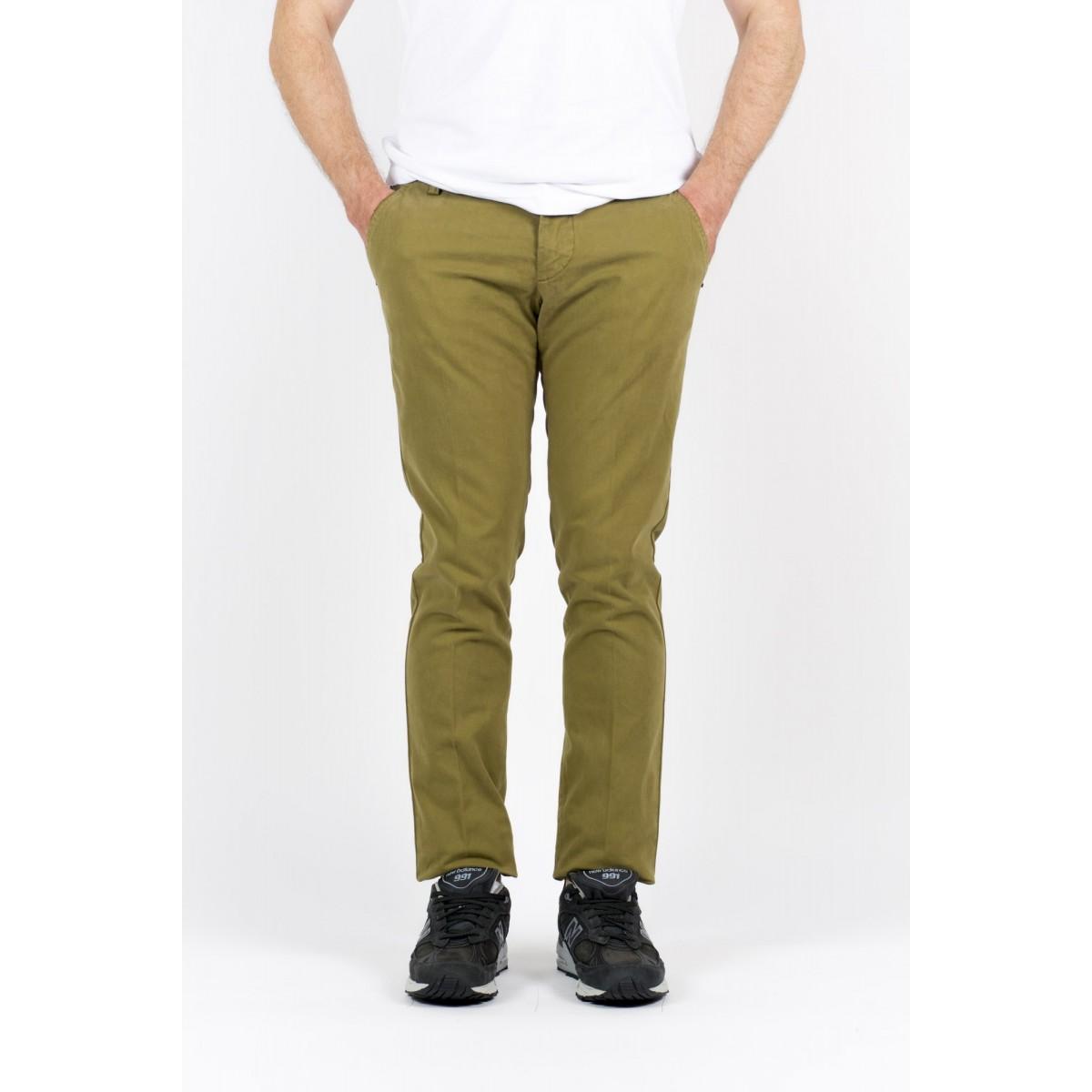 Pantalone uomo Entre amis - Pantalone tasca america slim con fondo 16cm 903 - Oliva