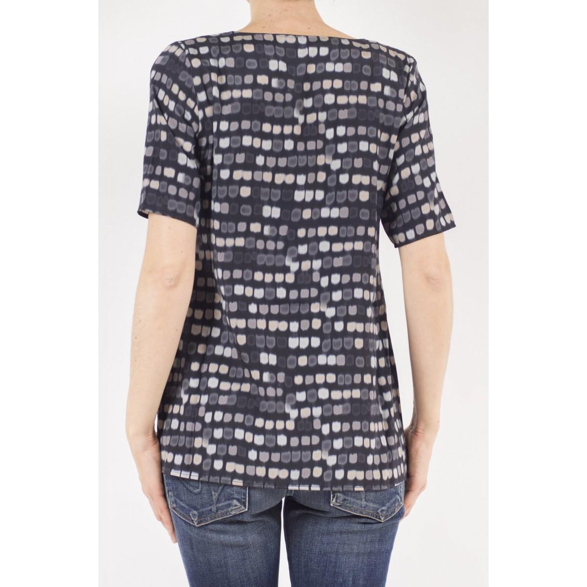 T-shirt donna Kangra - 7825/01 t-shirt seta stampa 13 - Nero