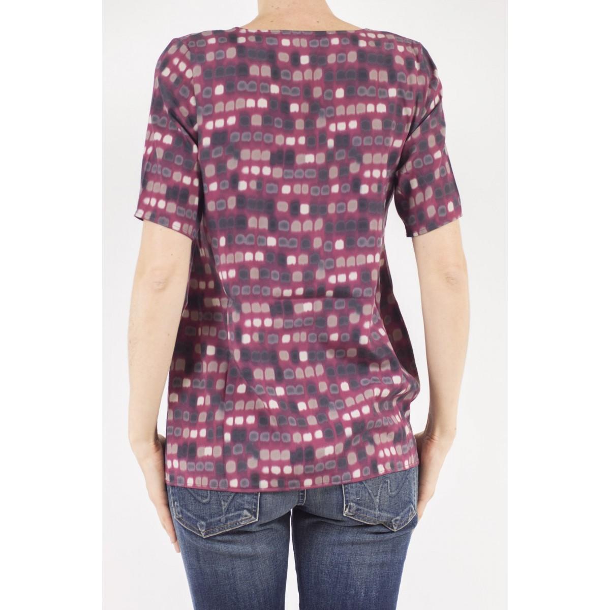 T-shirt donna Kangra - 7825/01 t-shirt seta stampa 207 - Bordo