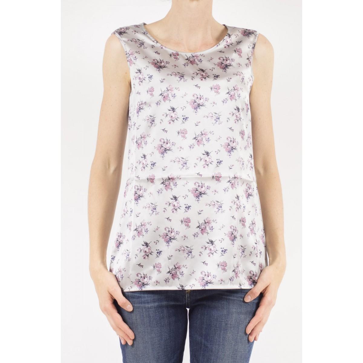 T-shirt donna Kangra - 7850/30 top seta stampa fiori 29 - grigio