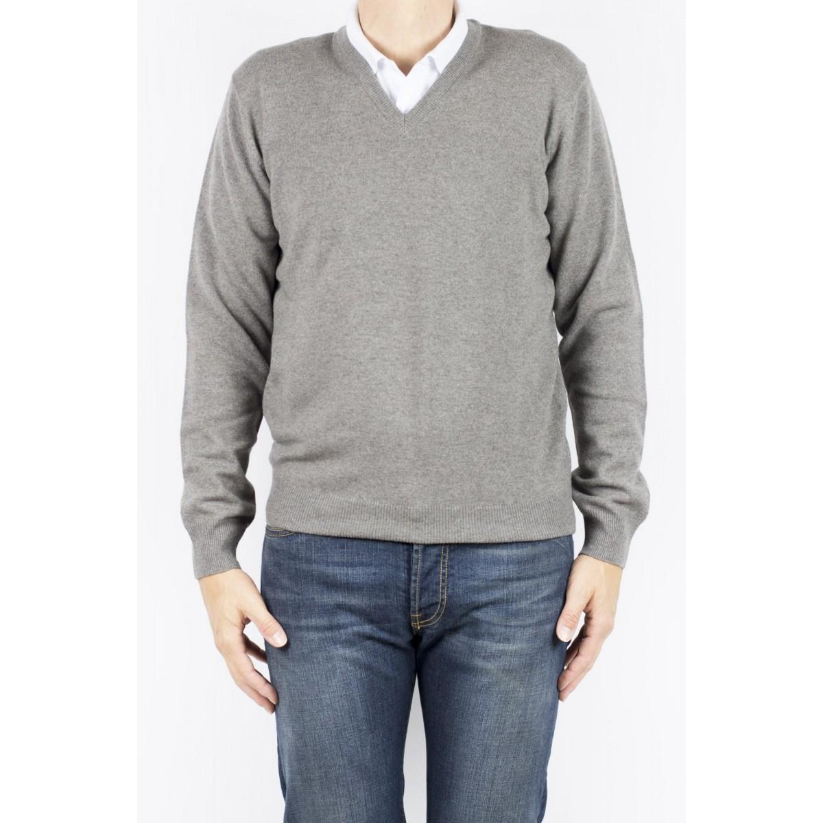 Maglia uomo Kangra - 7001/02 al maglia v toppa tono su tono 42 - corteccia