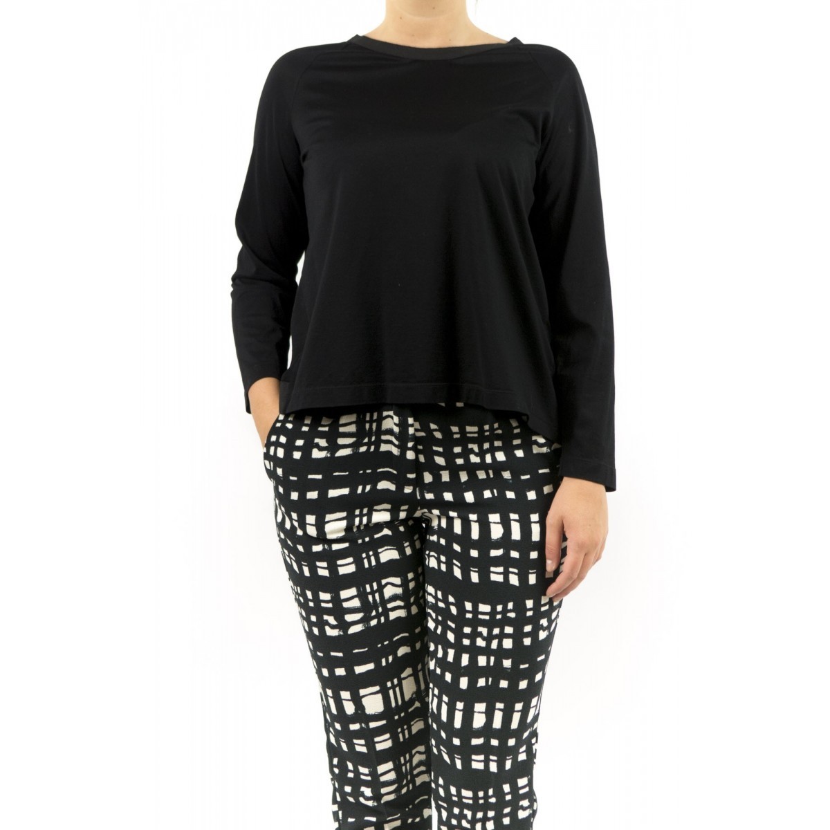 T-shirt donna Erika cavallini - semicouture - P5i128 t-shirt filo scozia 009 - nero