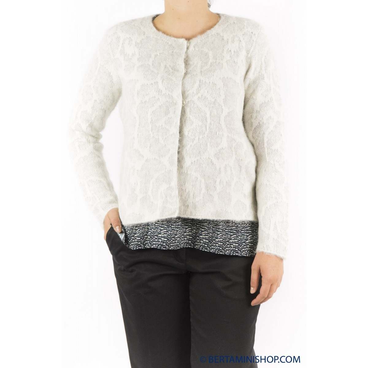 Maglia donna Kangra - 9610/58 giacchina baby alpaca 29 - PERLA