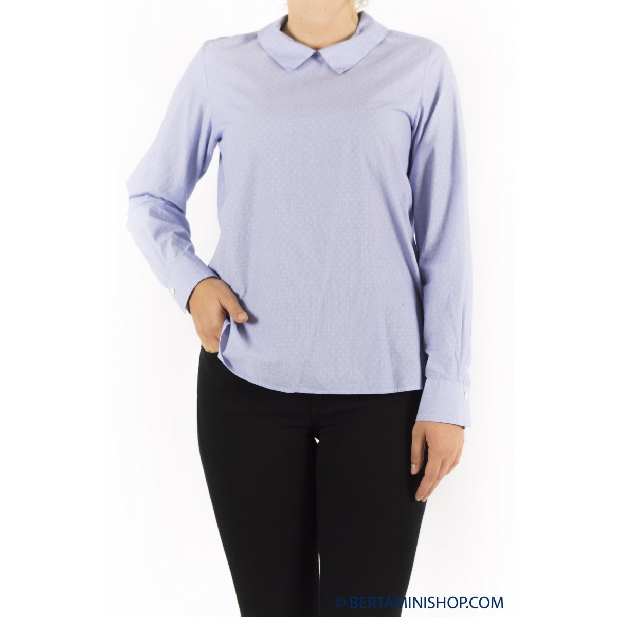 Blouse Glanshirt Red Woman - Blanch L6523 802- Azzurra puntino