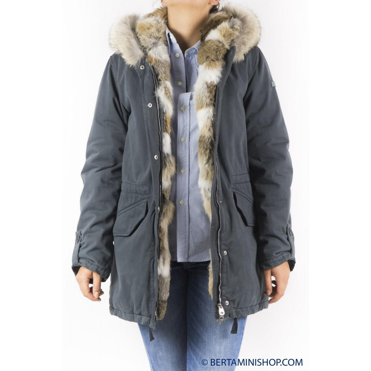 Piumino Lempelius - 239 7000 parka cappuccio pelliccia e bordo 96 - Smoky grey