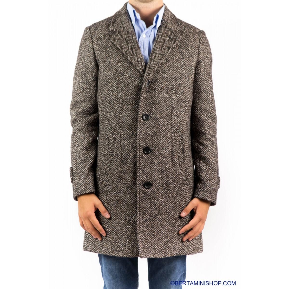 Cappotto Paltò Italia Uomo - Geraldo N M008 - Nocciola spinato