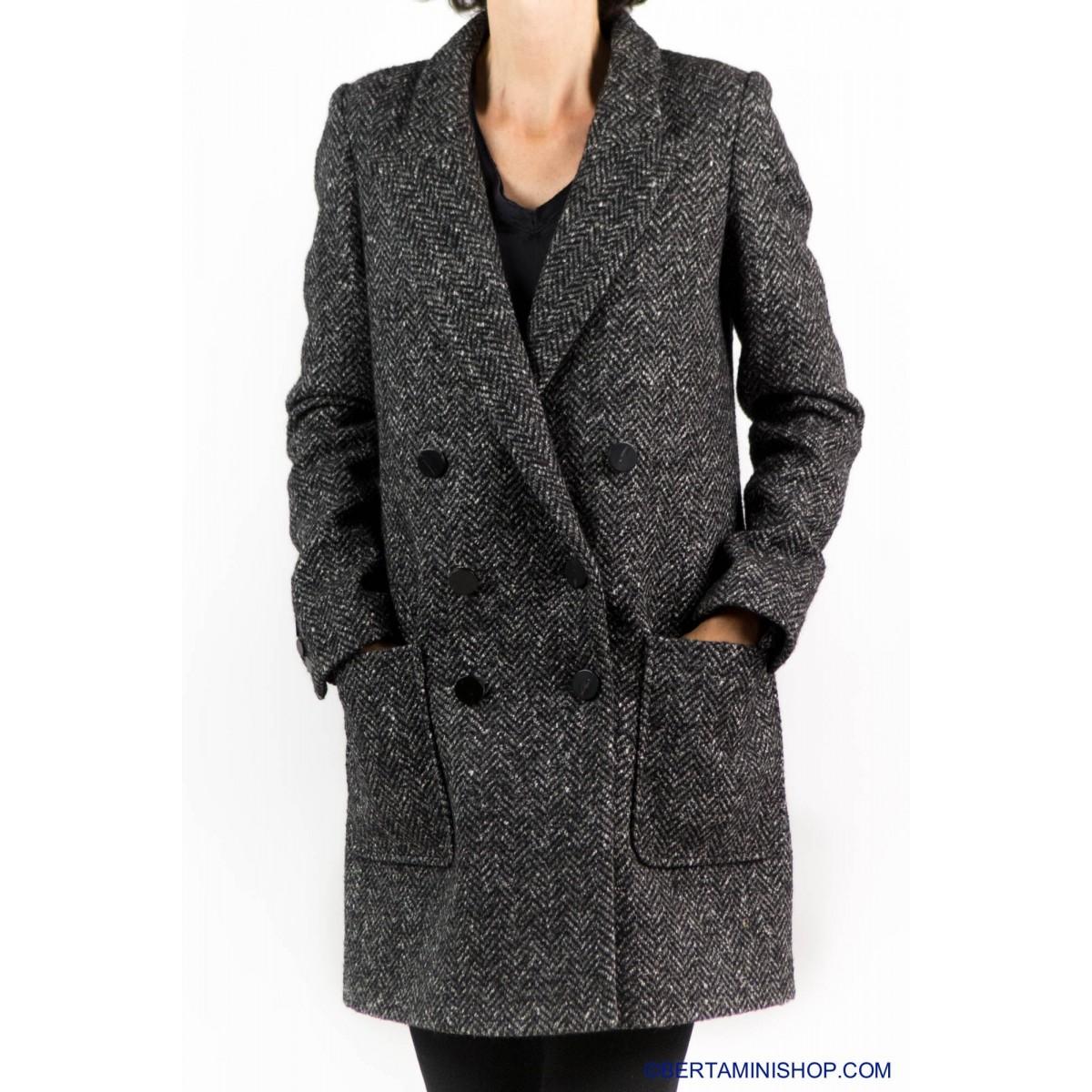Coat Paltò Italia Woman - Amelia N M001- Nero spinato