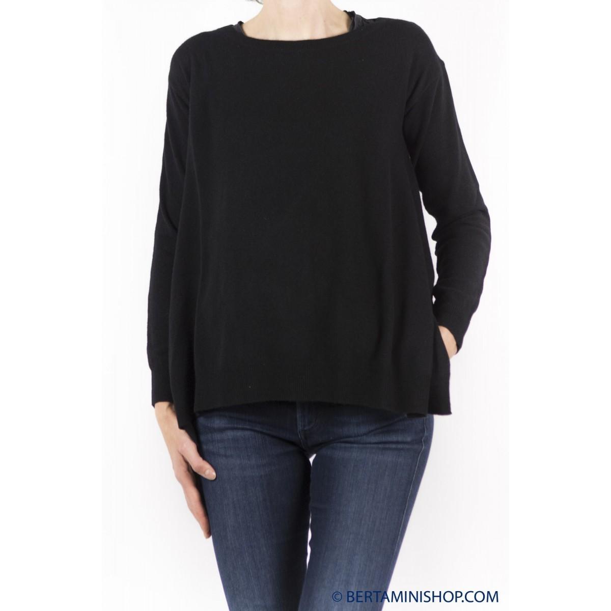 Maglia donna Jucca - 1100 maglia ampia con tessuto 003 - nero