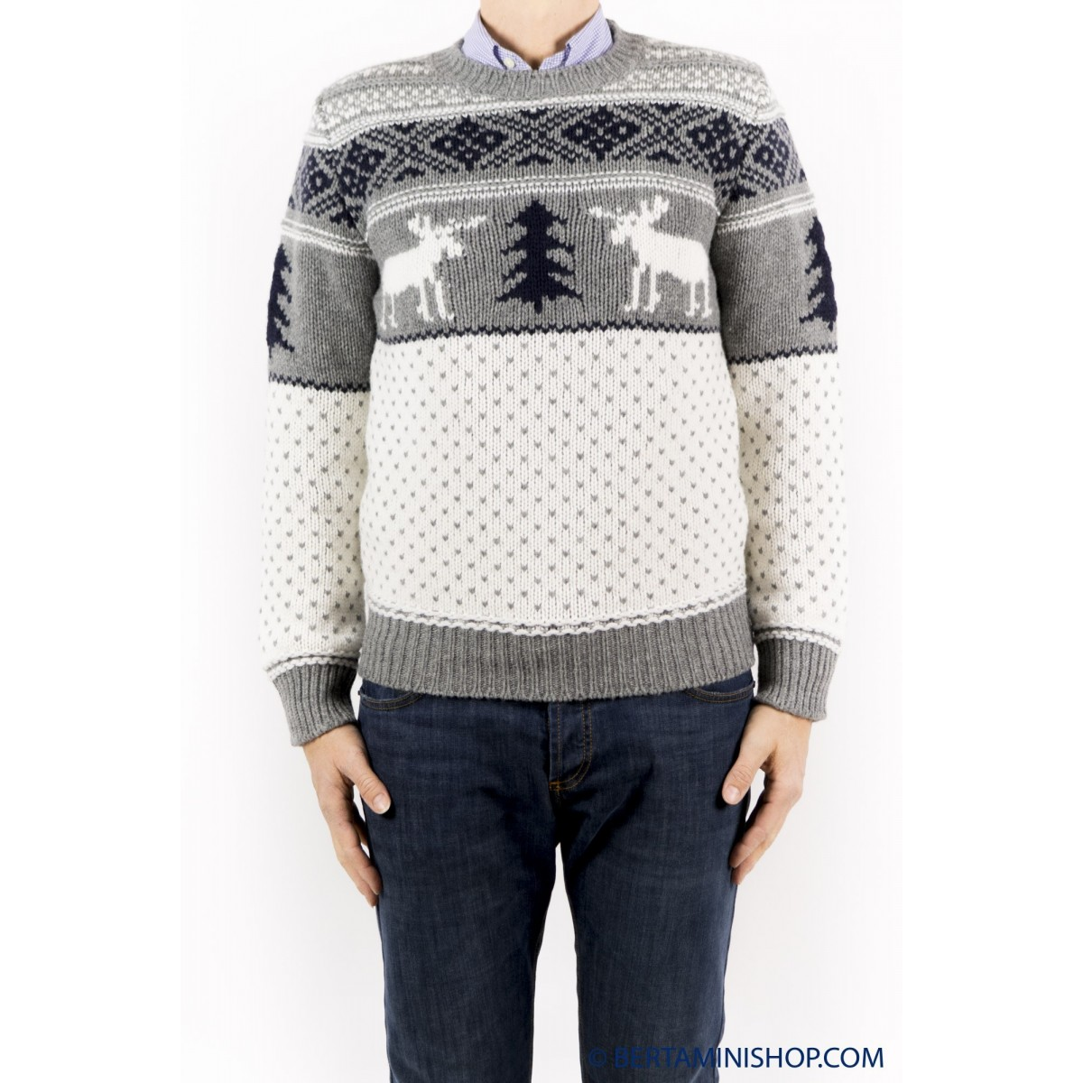 Maglia uomo Kangra - 9306/01 maglia 100% lana ricamata renna 32 - grigio medio