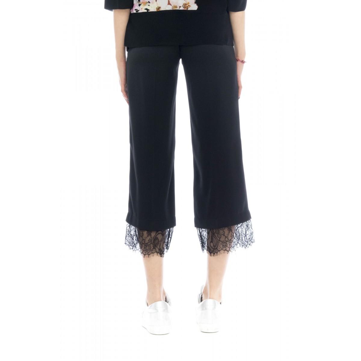 Pantalone donna - 2730 pantalone fluido piu pizzo
