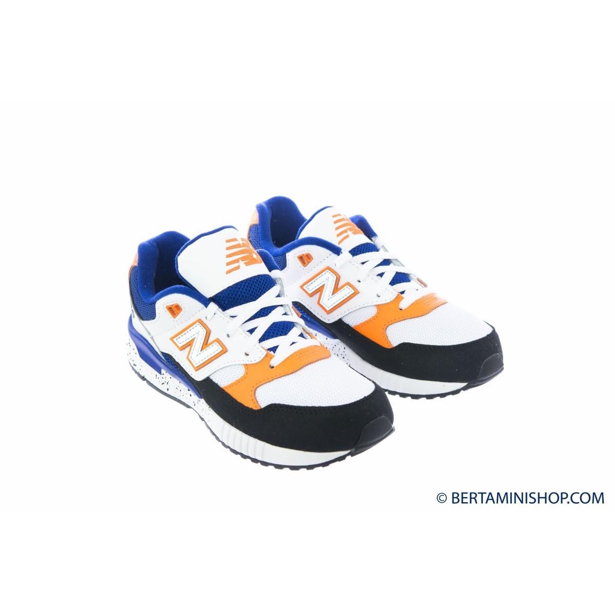 Scarpa New Balance Bambino - KL 530 BO - Bianca azz arancio