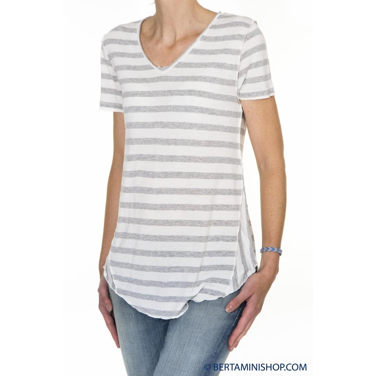 T-Shirt Better Rich Donna - F14 Tshirt Righe 9100 - Grigio bianco