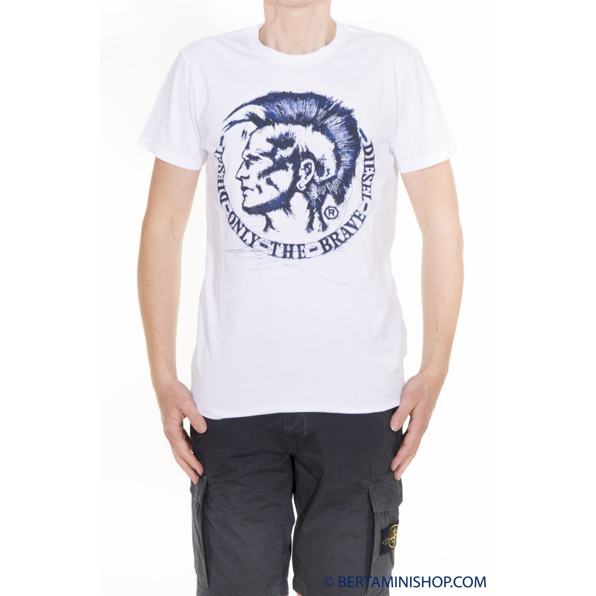 T-Shirt Diesel Manner - T-Diego-FR 100 - Bianco