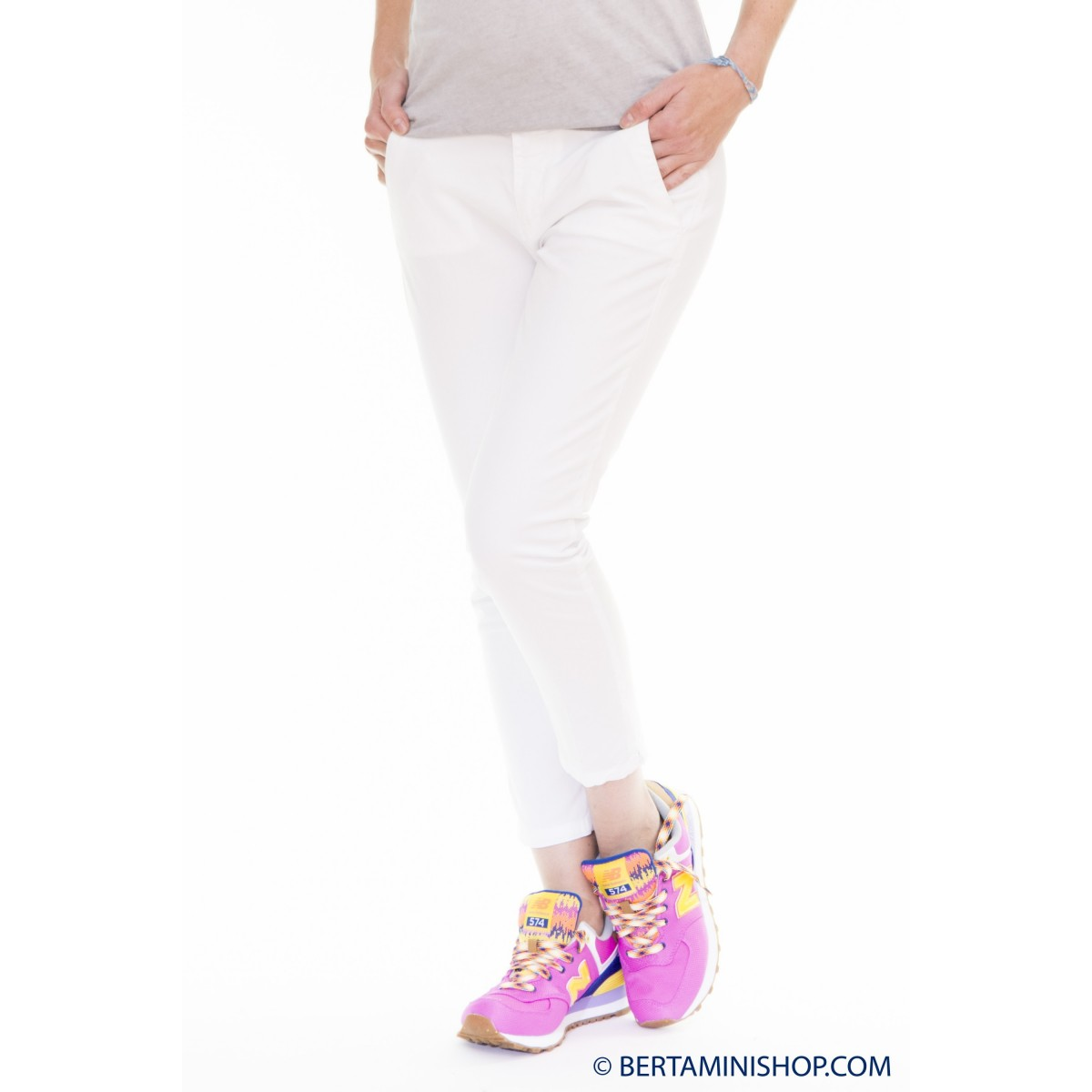 Pantalone donna 40 weft - Melitas 6062 pantalone strech 441 - bianco
