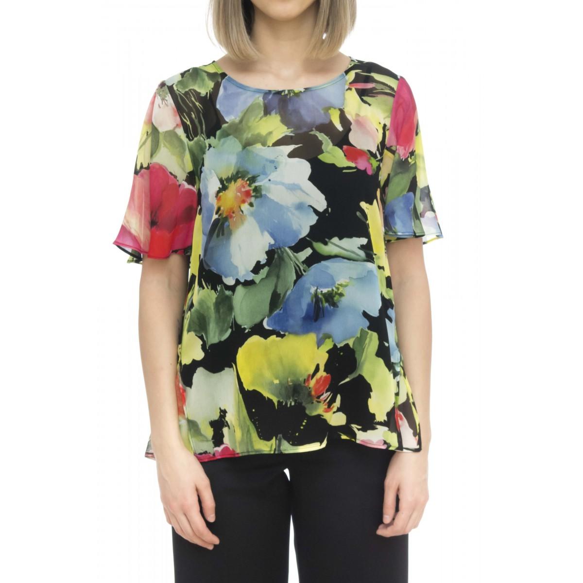 Camicia donna - 2485 camicia stampa fiori viscosa