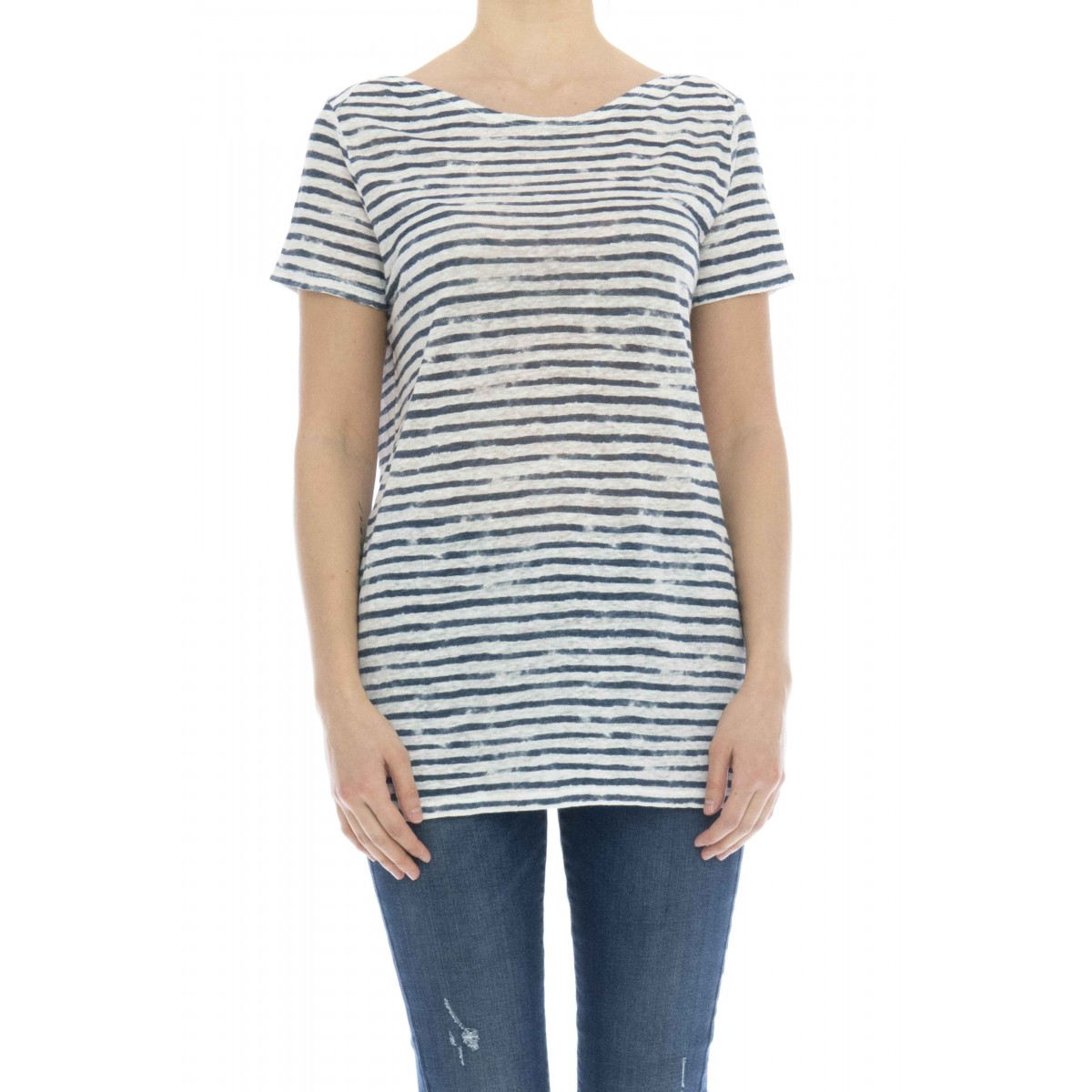 T-shirt donna - J077 fts203 t-shirt rigata lino