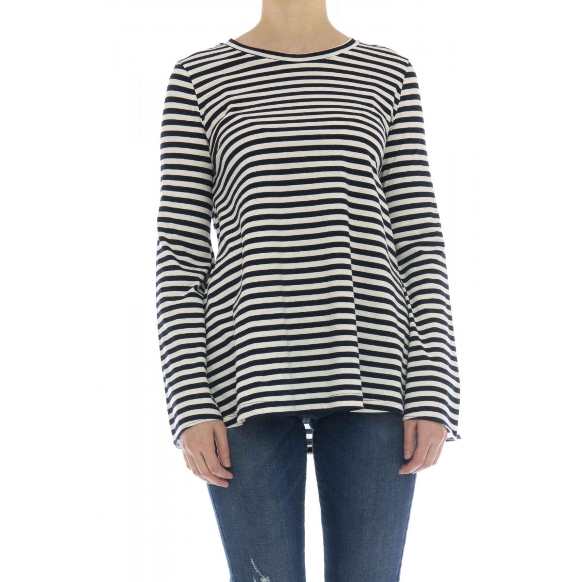 T-shirt donna - J8016 t-shirt manica lunga rigata