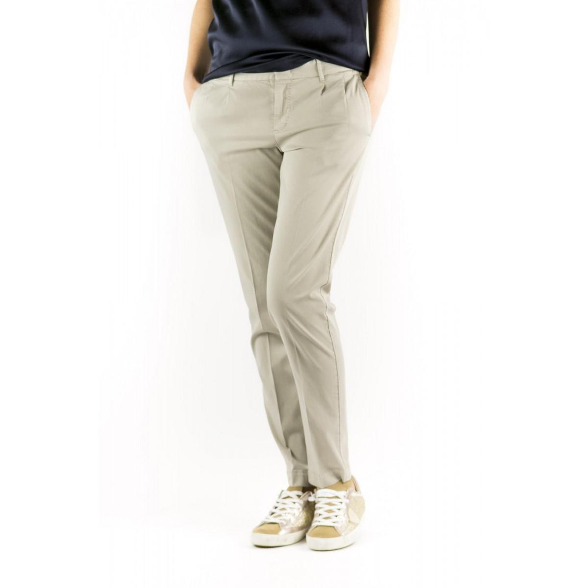 Pantalone donna Pt0w - Vtc2 eb65 cotone strech 0040 - beige