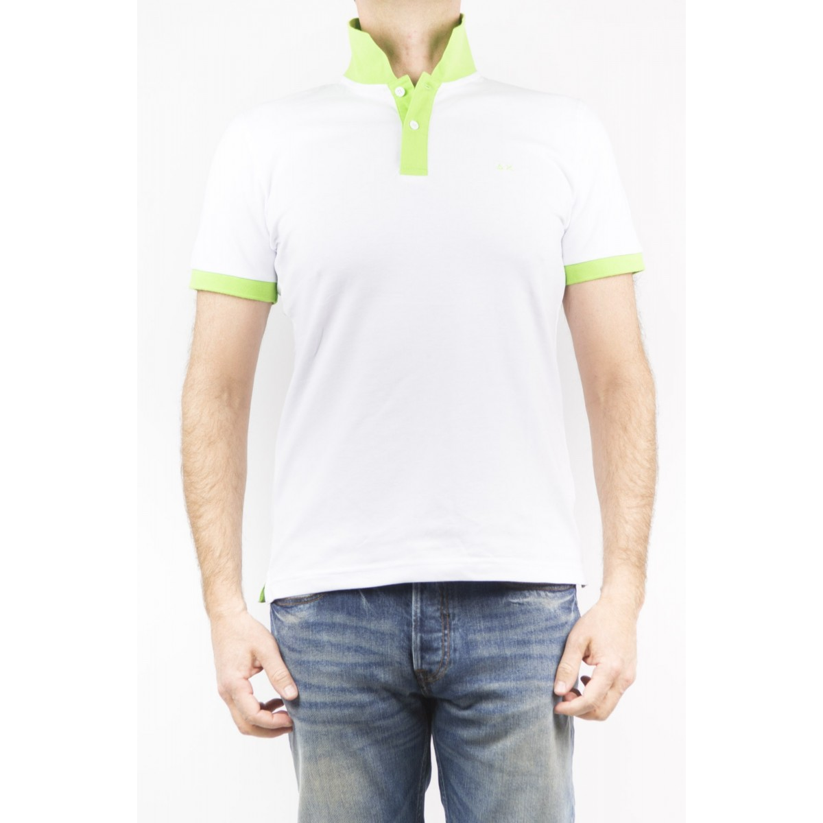 Polo Sun 68 Manner - 15110 Collo Fluo 001 - bianco
